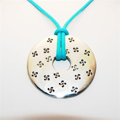 COLLIER CIBLE RONDE LARGE GRAVEE CORDON TURQUOISE