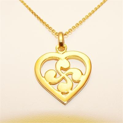 Pendentif coeur croix basque