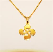 Pendentif croix basque or jaune Iluna