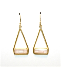 BOUCLES D'OREILLES TRIANGLE QUARTZ ROSE