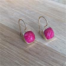 Boucles d'oreilles pierre naturelle Rubellite