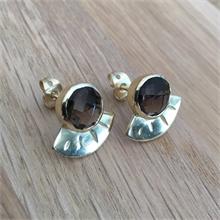 Boucles d'oreilles pierre naturelle Smokey quartz