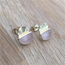 Boucles d'oreilles pierre naturelle Quartz rose