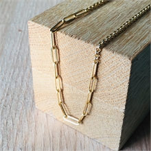 COLLIER MAILLE RECTANGLE FINE + MAILLE JASERON