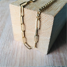 COLLIER MAILLE RECTANGLE FINE + MAILLE JASERON MM