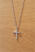 COLLIER CROIX DIAMANT OR BLANC
