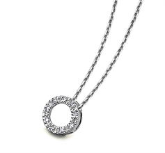 Collier cercle diamants or blanc