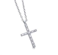 Collier croix religieuse en diamant